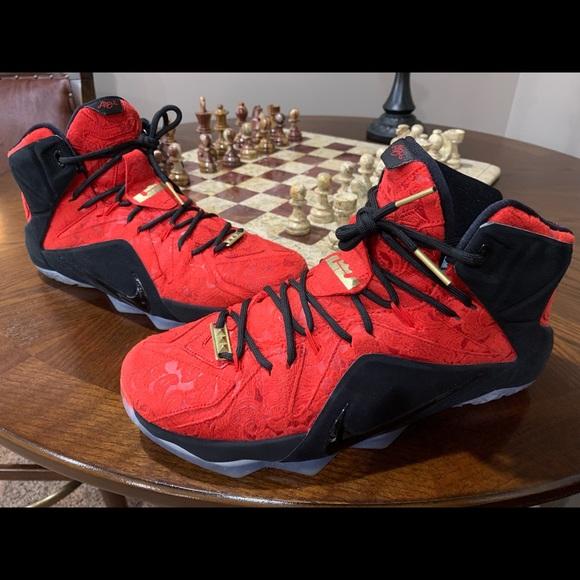 "buy popular 8361f afa82 Nike LeBron XII EXT ""Kings Cloak"" Red Paisley 12"